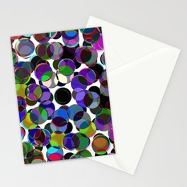 Cluttered Circles III - Abstract, Geometric, Pastel Coloured, Circle Patterned Artwork Stationery Cards