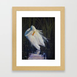 Great Egret at the Pond Framed Art Print