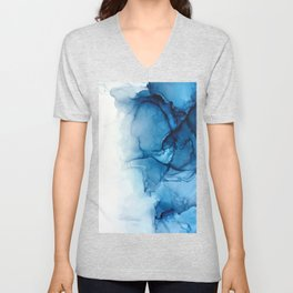 Blue Tides - Alcohol Ink Painting Unisex V-Neck