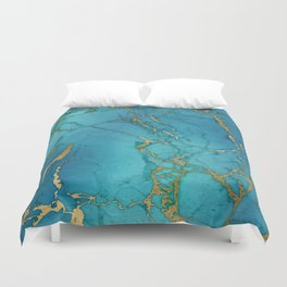 Blue and gold marble stone print Duvet Cover