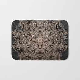 Mandala - rose gold and black marble 4 Bath Mat