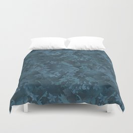 Blue satin floral pattern . Duvet Cover