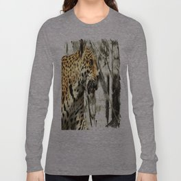 tree branch african safari animal leopard Long Sleeve T-shirt