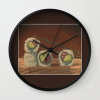 sushi Wall Clocks featuring Sushi by Joe Palumbo