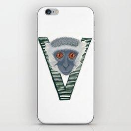 V is for Verve Monkey Letter Alphabet Decor Design Art Pattern iPhone Skin