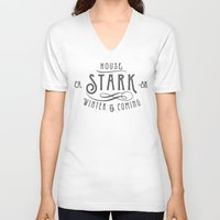 house stark V-neck T-shirts featuring House Stark Typography by P3RF3KT