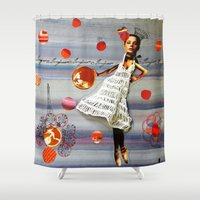 bonjour Shower Curtains featuring bonjour by Gina Geo