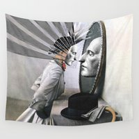 magritte Wall Tapestries featuring OBJECTS IN THE MIRROR ARE CLOSER THAN THEY APPEAR by Julia Lillard Art