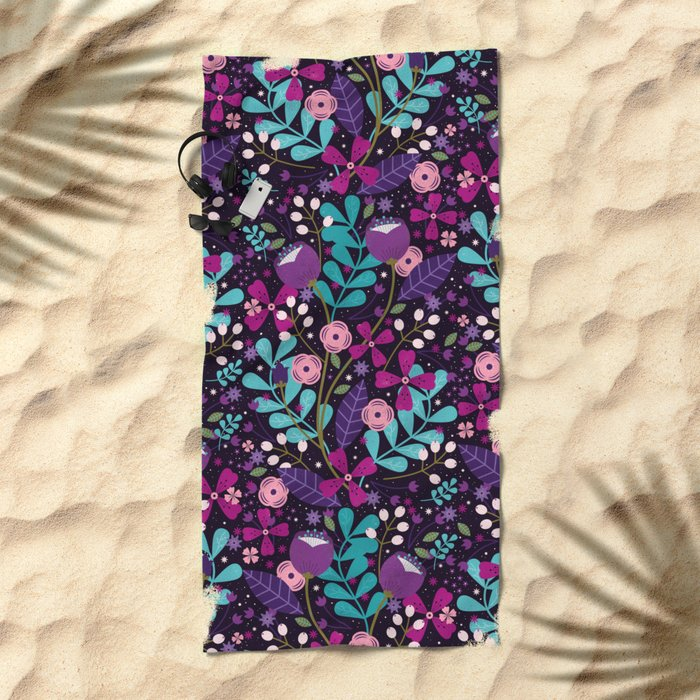 Starlight Blooms Beach Towel