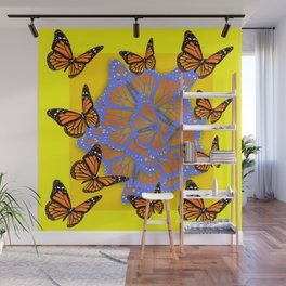 MONARCH BUTTERFLIES ABSTRACT ON YELLOW-GOLD Wall Mural