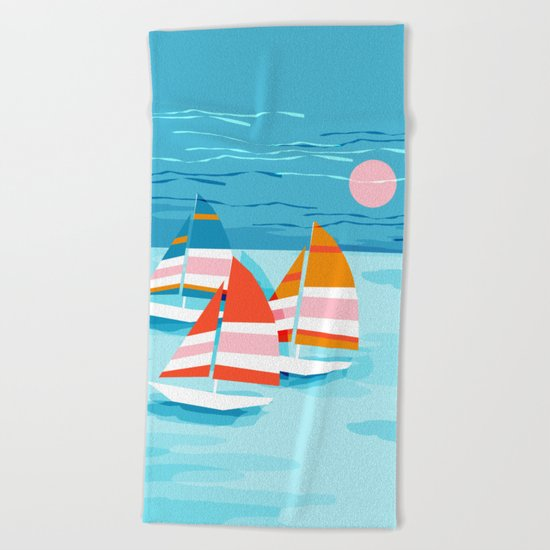 Popin - memphis sports retro throwback neon sailing sailboat cool rad gnarly trendy watersports Beach Towel
