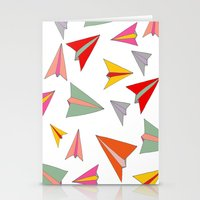 airplanes Stationery Cards featuring Paper airplanes pattern by Isabelle Debionne