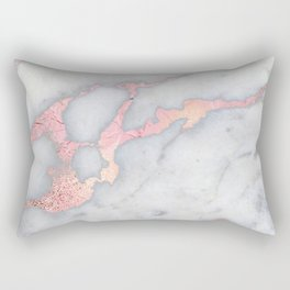 Rosegold Pink on Gray Marble Metallic Foil Style Rectangular Pillow