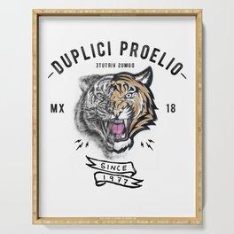 DUPLICI PROELIO Tiger by leo Tezcucano Serving Tray