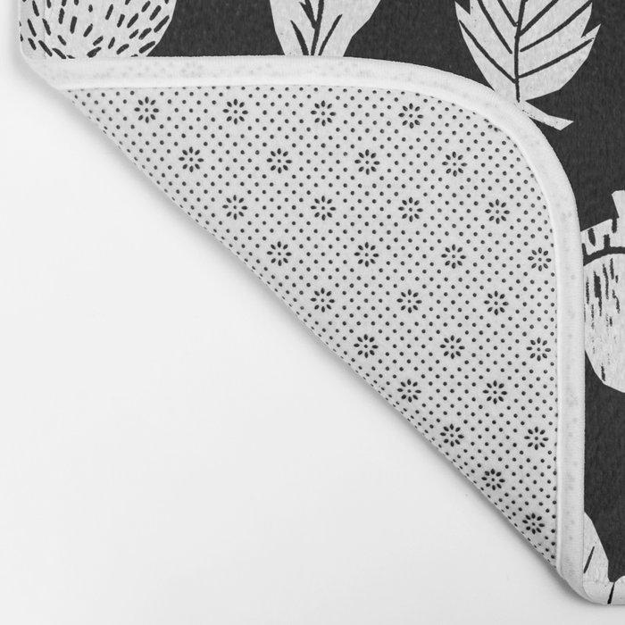 Black and white linocut leaves fall autumn pattern minimal art print home decor Bath Mat