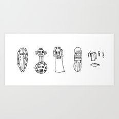 Five Masks Art Print