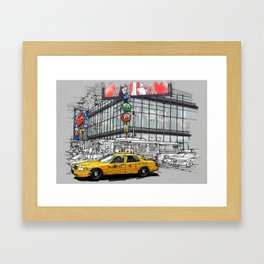 A corner in New York city and a yellow cab Framed Art Print