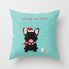 French Bulldog Waiting for Santa - Black / Brindle Edition Throw Pillow
