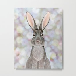 rabbit woodland animal portrait Metal Print