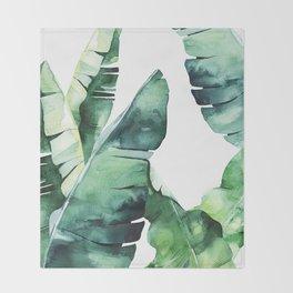 Tropical Banana Leaves Throw Blanket
