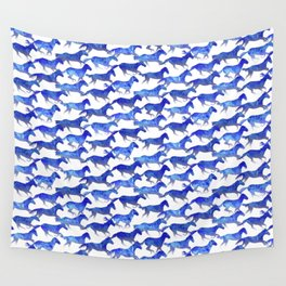 Running Watercolor Horses Pattern - Blue Wall Tapestry