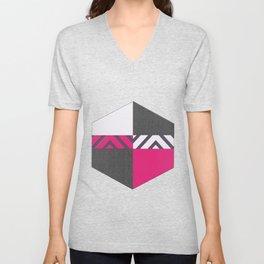Monochrome Pink Tiles Unisex V-Neck