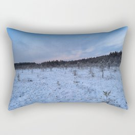 Winter cold  blue sky over the white snowy covered forest swamp Rectangular Pillow
