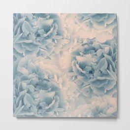 Blush Blue Peonies Dream #1 #floral #decor #art #society6 Metal Print