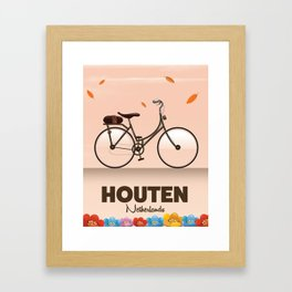 Houten Netherlands Cycling poster print. Framed Art Print