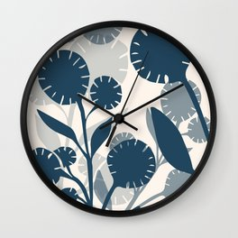 Wildflowers Large - Blue Wall Clock