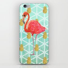 Illustrated Pink Flamingo and Gold Pineapple Design iPhone Skin