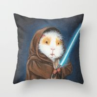guinea pig Throw Pillows featuring Jedi Guinea Pig by When Guinea Pigs Fly