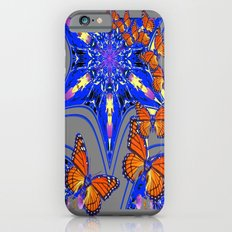 Modern Blue-grey Abstracted Monarch Butterflies Design Slim Case iPhone 6