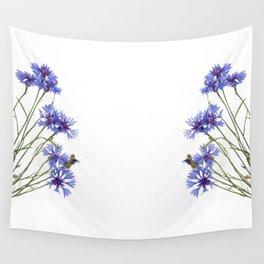 Slant blue cornflower flowers Wall Tapestry