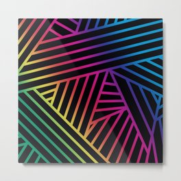 Rainbow Ombre Pattern on Black Background Metal Print