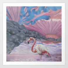 Fairyfloss Flamingo Art Print
