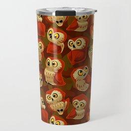 Northern Saw-whet owls pattern. Travel Mug