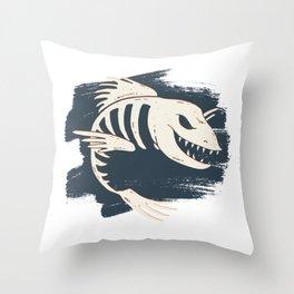 Fish Skull / Skeleton Throw Pillow