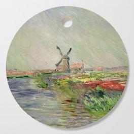 "Claude Monet ""Tulip field in Holland (Champ de tulipes en Hollande)"" Cutting Board"
