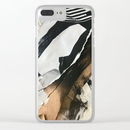 Stay | Collage Series 2 | mixed-media piece in gold, black and white + book pages Clear iPhone Case
