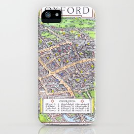 OXFORD university map ENGLAND dorm decor iPhone Case