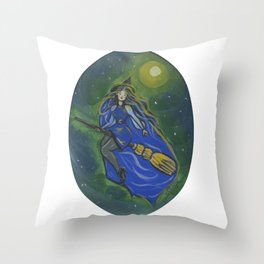 Blue witch Throw Pillow