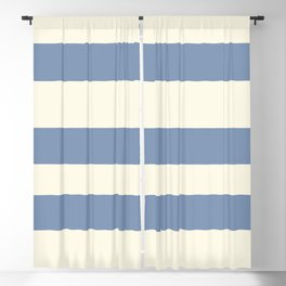 Dusk Sky Blue 27-23 Hand Drawn Fat Horizontal Lines on Dover White 33-6 Blackout Curtain