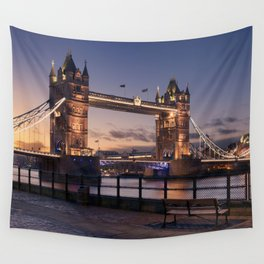 Historic Tower Bridge Thames River London Capital City England United Kingdom Romantic Sunset UHD Wall Tapestry