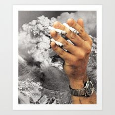 Even The Mountain Smokes Art Print
