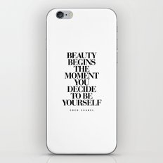 Beauty Begins quote Typography Print iPhone & iPod Skin