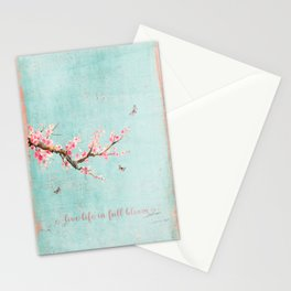 Live life in full bloom - Romantic Spring Cherry Blossom butterfly Watercolor illustration on teal Stationery Cards