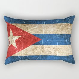 Vintage Aged and Scratched Cuban Flag Rectangular Pillow