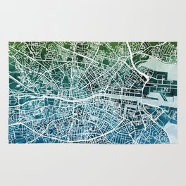 Dublin Ireland City Map Rug