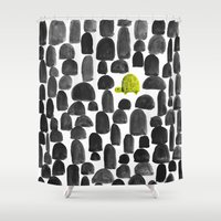 garden Shower Curtains featuring Turtle in Stone Garden by Picomodi
